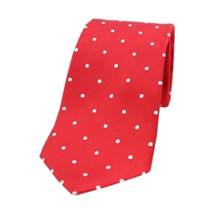 The Silk Tie Company - Red and White Polka Dot - 100% Silk Tie