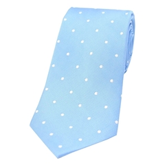 The Silk Tie Company - Sky Blue and White Polka Dot - 100% Silk Tie