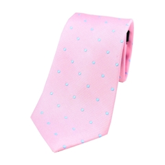 The Silk Tie Company - Pink and Sky Blue Polka Dot - 100% Silk Tie