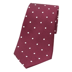 The Silk Tie Company - Wine and White Polka Dot - 100% Silk Tie