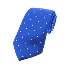 The Silk Tie Company - Royal Blue and White Polka Dot - 100% Silk Tie