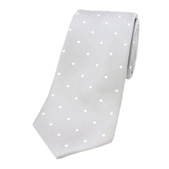 The Silk Tie Company - Silver and White Polka Dot - 100% Silk Tie