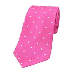 The Silk Tie Company - Fuchsia and White Polka Dot - 100% Silk Tie