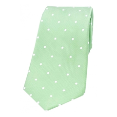 The Silk Tie Company - Mint and White Polka Dot - 100% Silk Tie