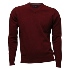 New For Autumn Hackett Lambswool V Neck Sweater - Winter Red