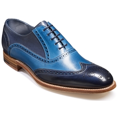 Barker Shoes Style: Valiant - Navy / Blue Hand Painted