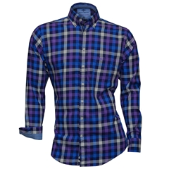 Fynch-Hatton Shirt - Amethyst Navy Hightwist Cotton Check - Size L Only