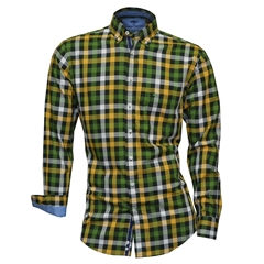 Fynch-Hatton Shirt - Loden Saffron Hightwist Cotton Check - Size L & XXL Only