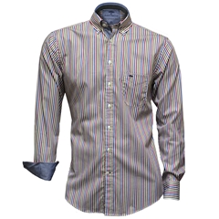 Fynch-Hatton Shirt - Mauve Cactus Premium Soft Twill Stripe - Size L Only