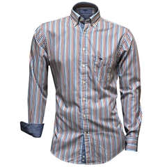 Fynch-Hatton Shirt - Flame Blue Premium Soft Twill Stripe - Size M & L Only