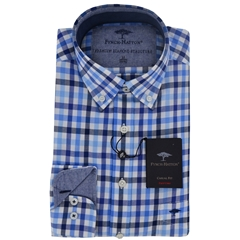 Fynch-Hatton Shirt - Navy Blue Check - Size L & XL Only