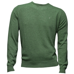 Fynch Hatton Wool & Cashmere Crew Neck - Cypress Green - Size XL Only
