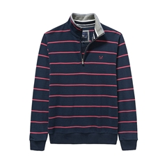 Autumn 2017 Mens Crew Clothing Classic Half Zip Sweat - Navy/Cherry