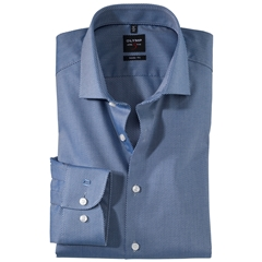 Olymp Level Five Body Fit Shirt  - Diamond Twill Royal Blue - 0566 64 19