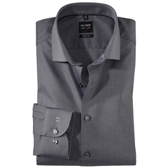 Olymp Level Five Body Fit Shirt  - Diamond Twill Black- 0566 64 68