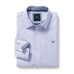 New 2017 Mens Crew Clothing Classic Fit Stripe Shirt - Periwinkle - 3XL Only