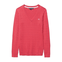 New 2018 Crew Women's Heritage Cable V Neck Jumper - Sunset Pink