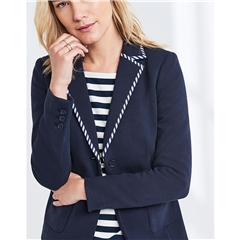New 2018 Crew Women's Jersey Piped Blazer - Navy