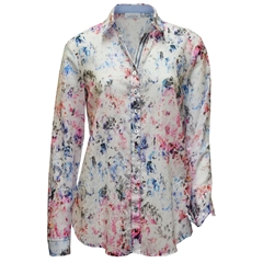 New 2018 Just White Cotton Pattern Shirt - Multi - Size 16 Only