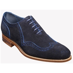 New 2018 Barker Shoes Style: Lazarus - Navy/Blue cut through Suede