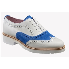 New 2018 Women's Barker Shoes Style: Josie - White Calf/ Sky Blue Suede
