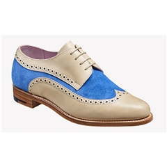 New 2018 Women's Barker Shoes Style: Cassie - Beige Calf/ Sky Blue Suede