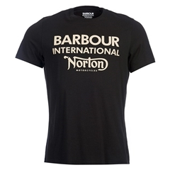 New 2018 Barbour Men's International Norton Logo Tee - Black