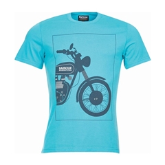 New 2018 Barbour Men's International Black Tee - Turquoise