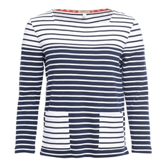 New 2018 Barbour Women's Monreith Top- White/Navy