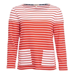 New 2018 Barbour Women's Monreith Top- White/Signal Orange