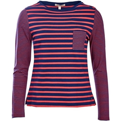 New 2018 Barbour Women's Barnacle Top - Navy/Red
