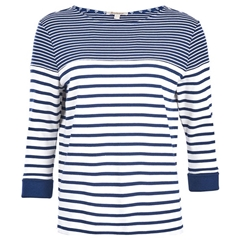 New 2018 Barbour Women's Fins Sweatshirt - Cloud/Navy