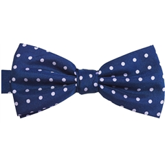 Ready Tied Bow Tie - Navy and Lilac Polka Dots