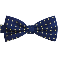 Ready Tied Bow Tie - Navy and Yellow Polka Dots