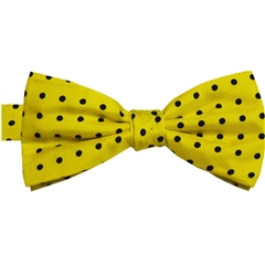 Ready Tied Bow Tie - Yellow and Navy Polka Dots