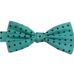 Ready Tied Bow Tie - Turquoise and Black Polka Dots