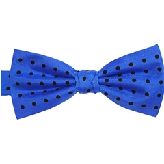 Ready Tied Bow Tie - Royal Blue and Black Polka Dots