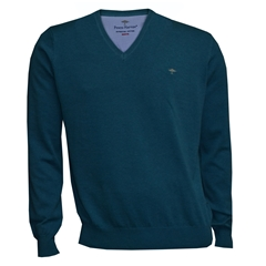 New 2018 Fynch Hatton Superfine Cotton V Neck - Azure