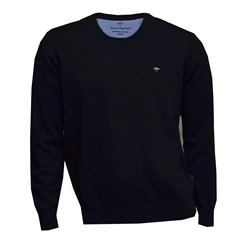 New 2018 Fynch Hatton Superfine Cotton Crew Neck - Navy