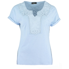 New 2018 Pomodoro Notch Neck Lace T-shirt - Blue