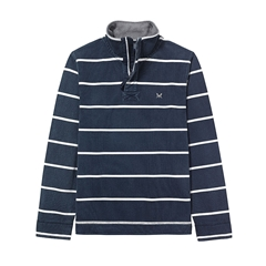 New 2018 Crew Men's Padstow Pique Sweat - Navy/White