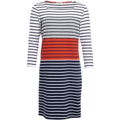 New 2018 Barbour Women's Pembrey Dress - White/Signal Orange