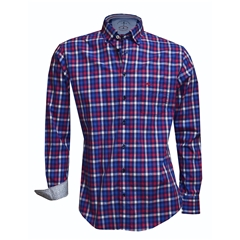 New 2018 Fynch Hatton Shirt - Navy/Red Royal Check