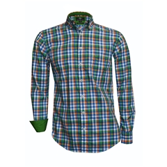 New 2018 Fynch Hatton Shirt - Green/Navy