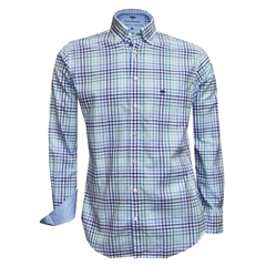 New 2018 Fynch Hatton Shirt - Turquoise Check