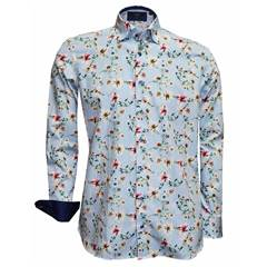 New 2018 Giordano Shirt - Flowers On Blue Stripe