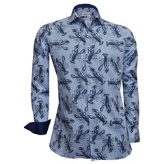 New 2018 Giordano Shirt - Lobsters On Blue Stripe