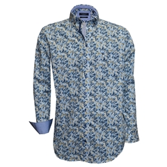 New 2018 Giordano Shirt - Blue Cream Flowers - Regular Fit