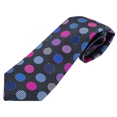 Van Buck Limited Edition - Charcoal/Pink Polka Dot Design Tie