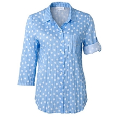 New 2018 Just White Polka Dot Shirt - Blue